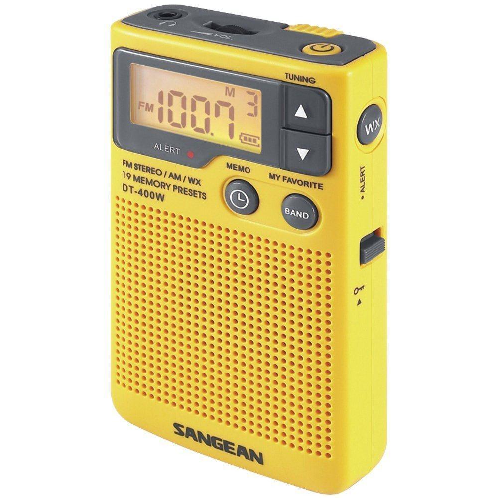 DT-400W 디지털 선국이 가능한 휴대용 라디오, 미국의 NOAA기능이 기본으로 탑재되어 있다. 노란색이 이쁘다.