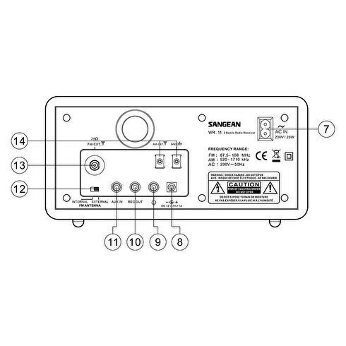 Sangean-WR-11-TableTop-Radio-Back-Diagram